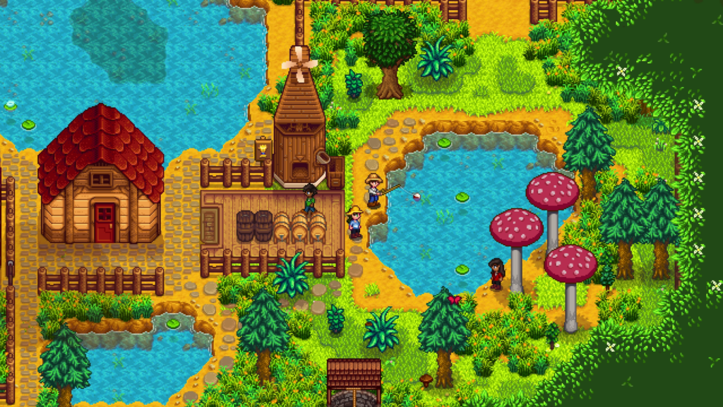 Stardew Valley landscape with barn, player characters, lakes, and trees