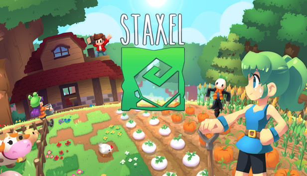 Staxel title page with crops, player character, and animals