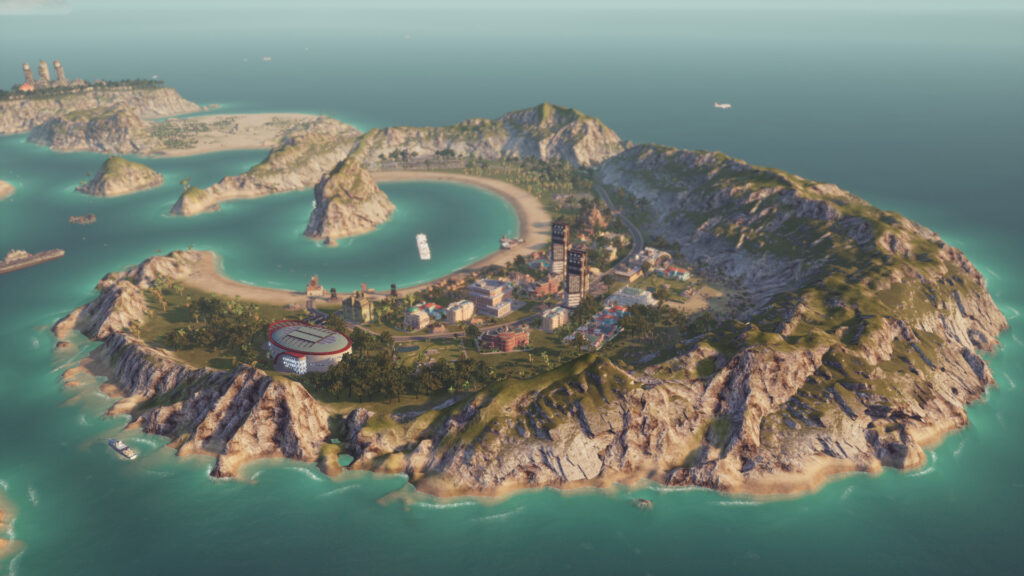 Island shaped like a crescent in Tropico 6