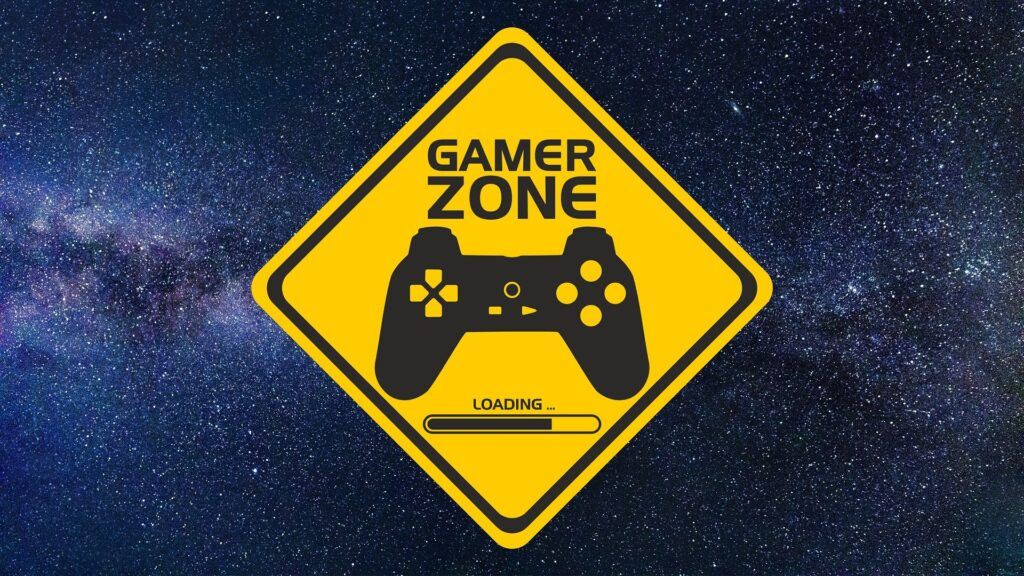 Gamer Zone Sign with space background