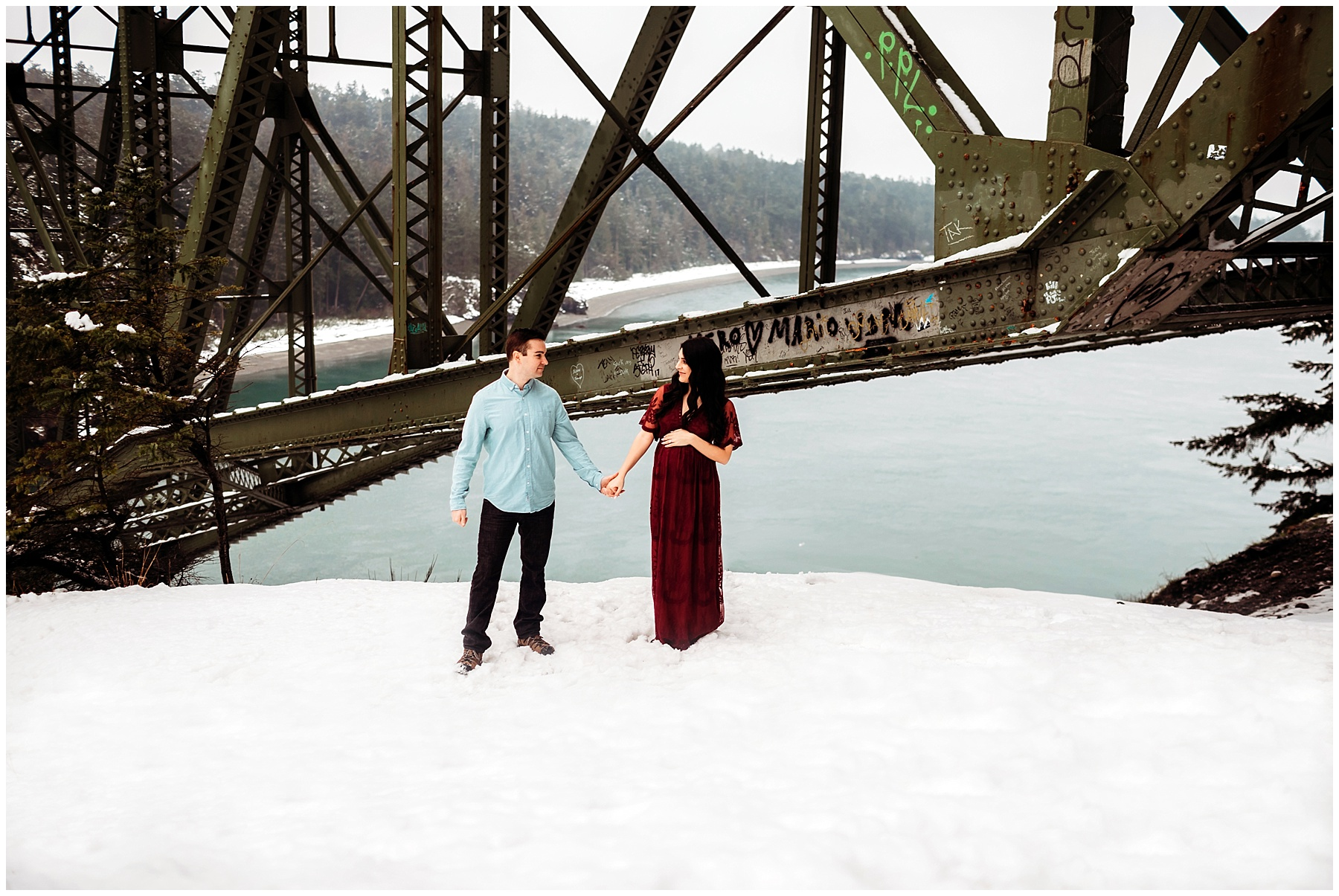 Maternity session at deception pass bridge on whidbey