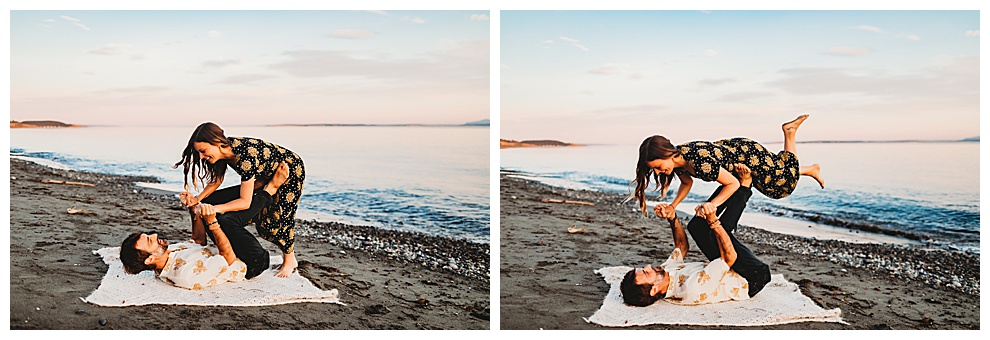 man and woman doing acro yoga on beach