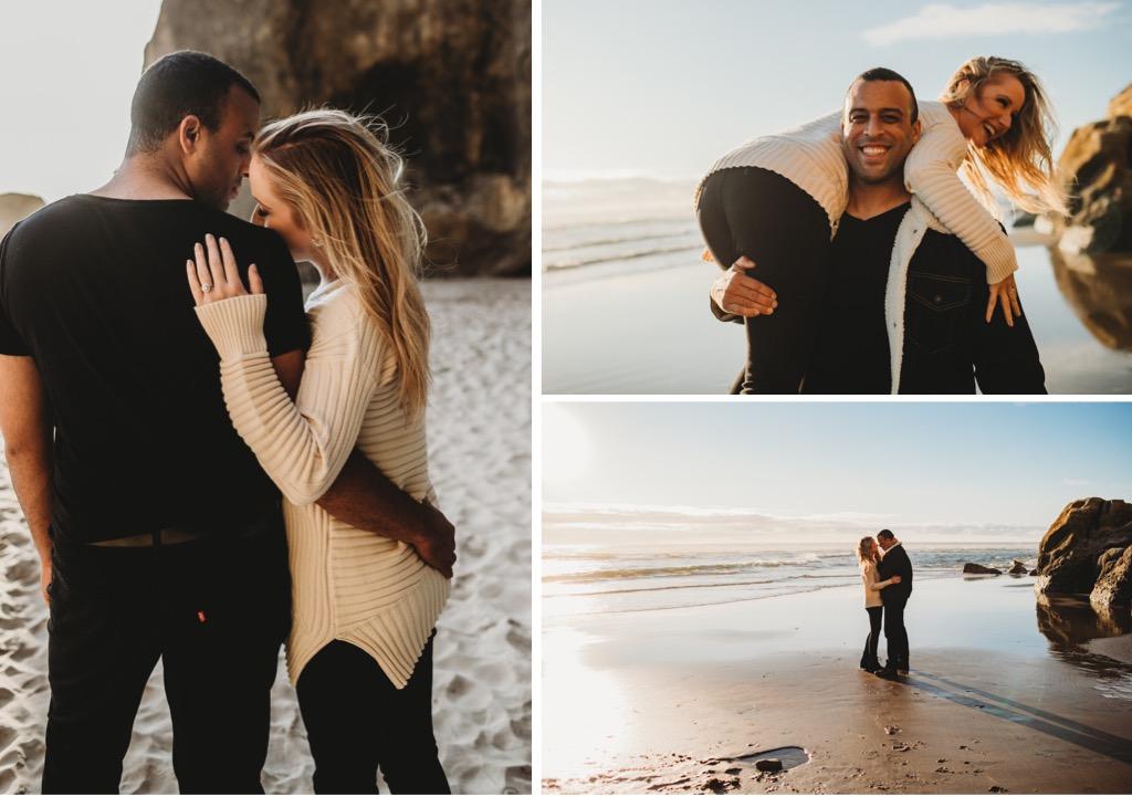 beach engagement photos on Oregon coast