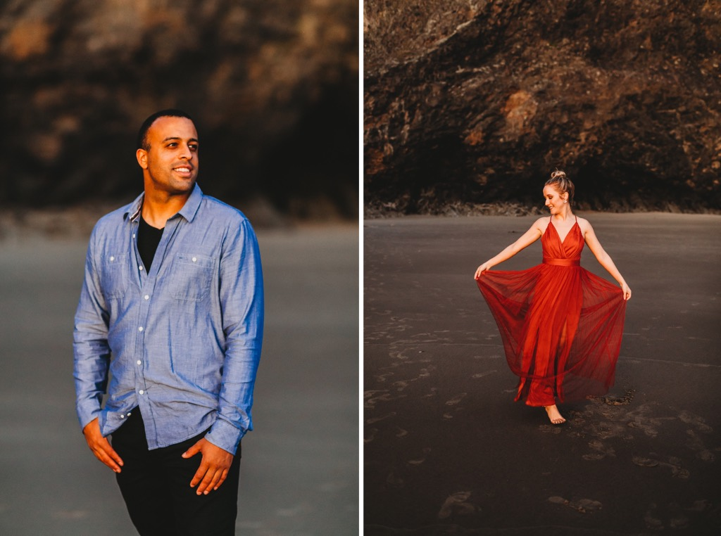 sunset engagement photos on Arch Cape beach Oregon