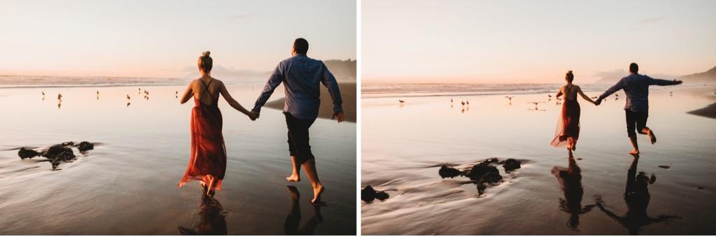sunset engagement photos on Arch Cape beach Oregon
