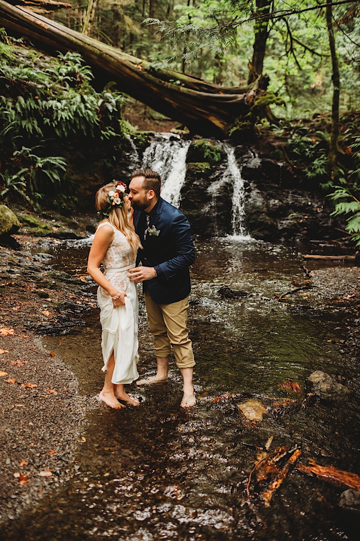 Rainy waterfall elopement on San Juan's Orcas Islands