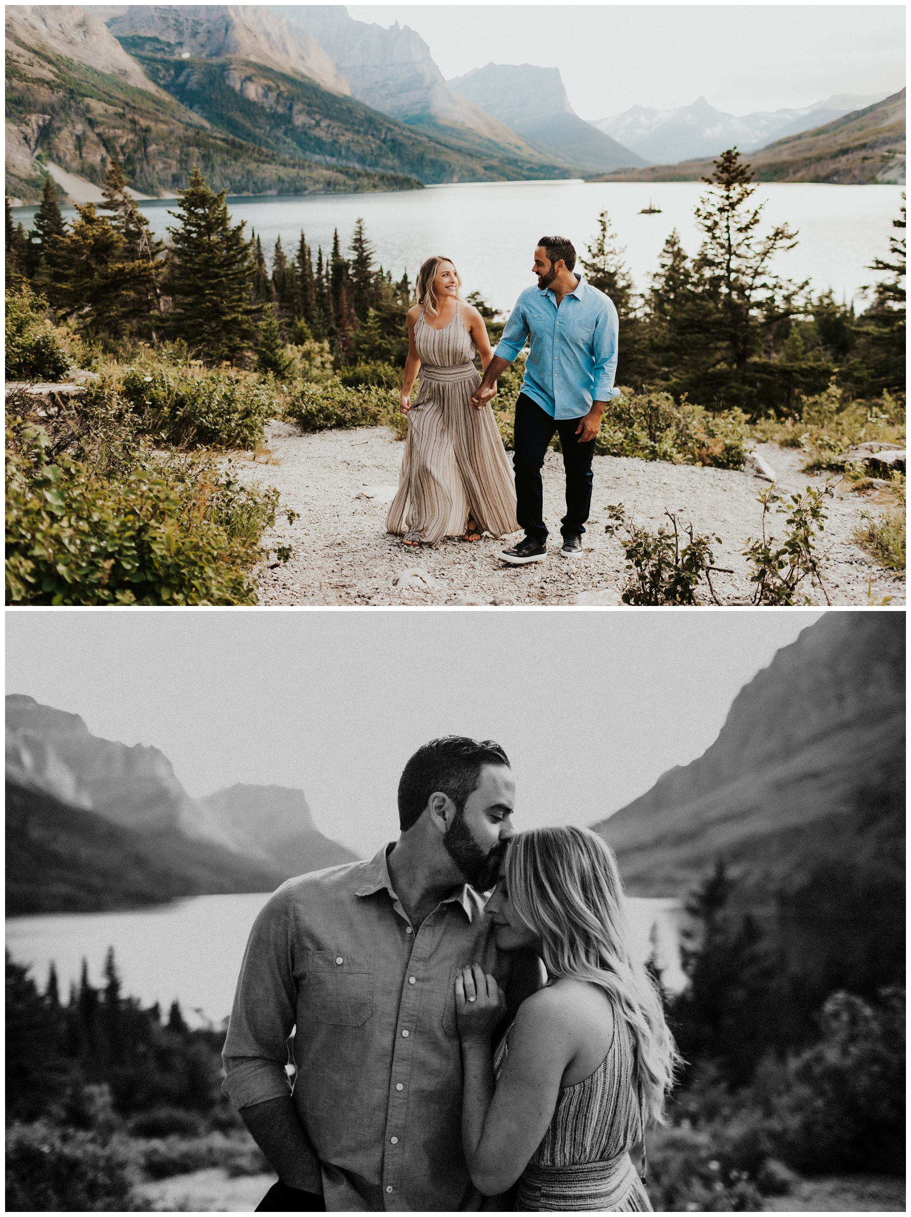 couple portraits for engagement in the mountains