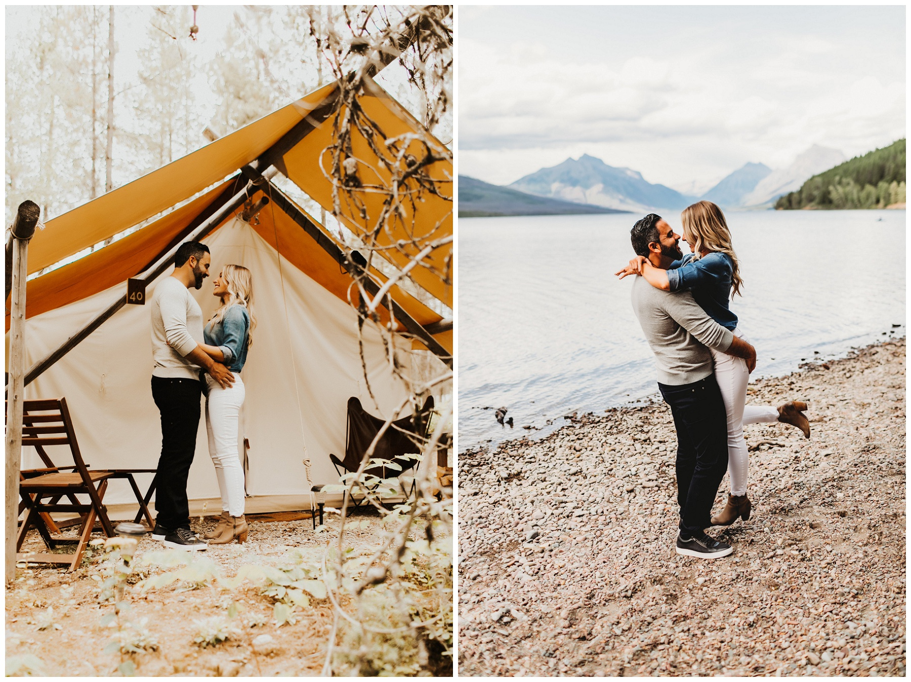 couple portraits by tent and lake
