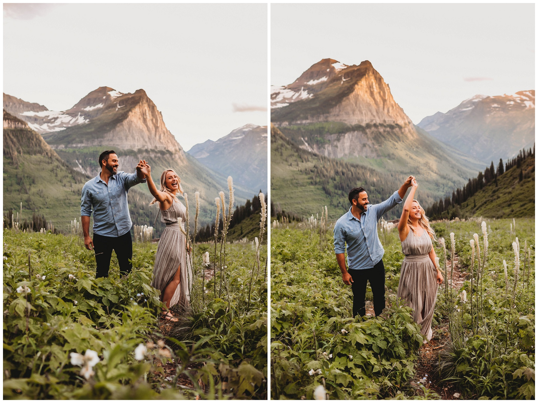 couple dancing in the mountains in the bear grass
