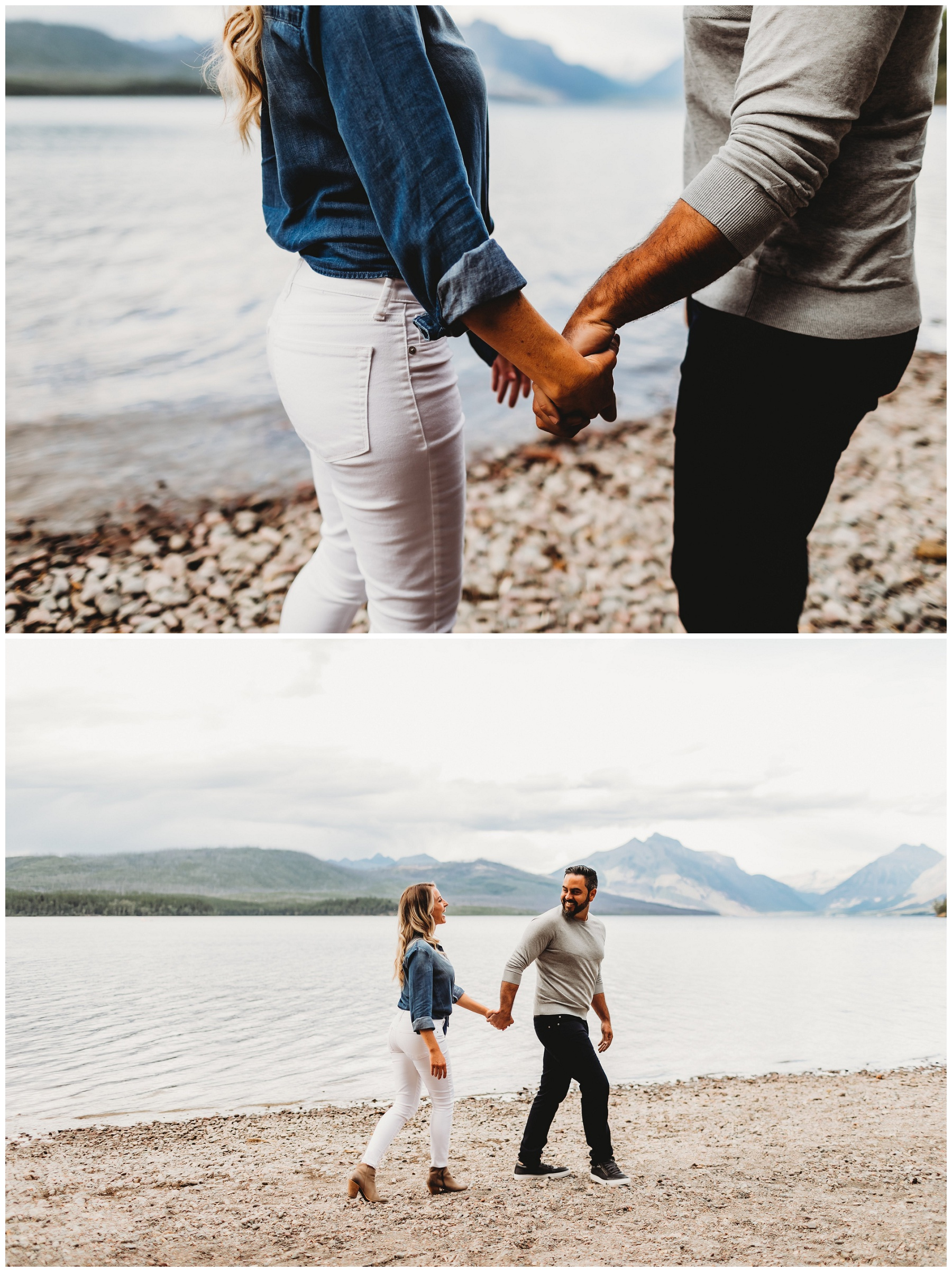 couple holding hands by lake