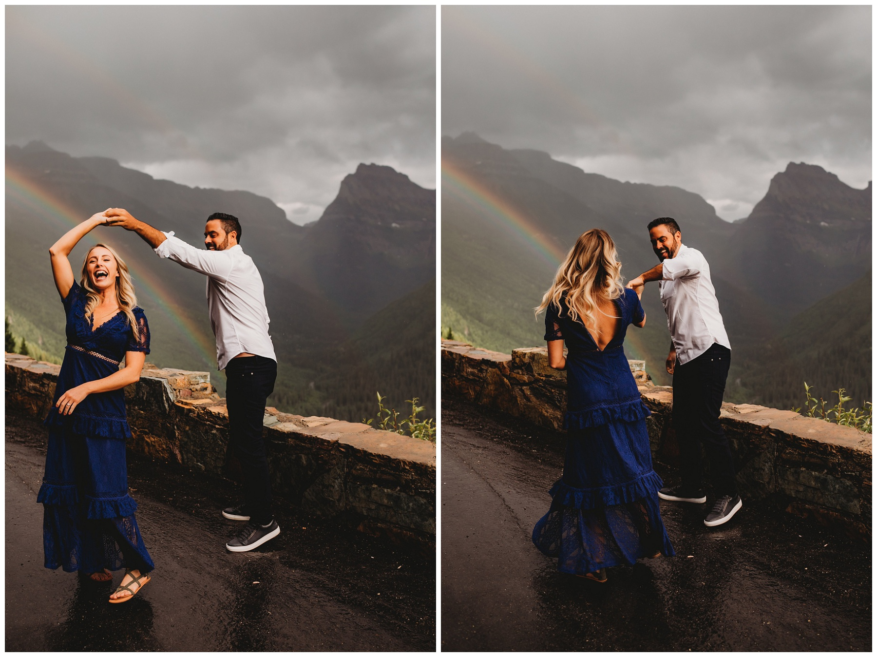 couple dancing by a rainbow