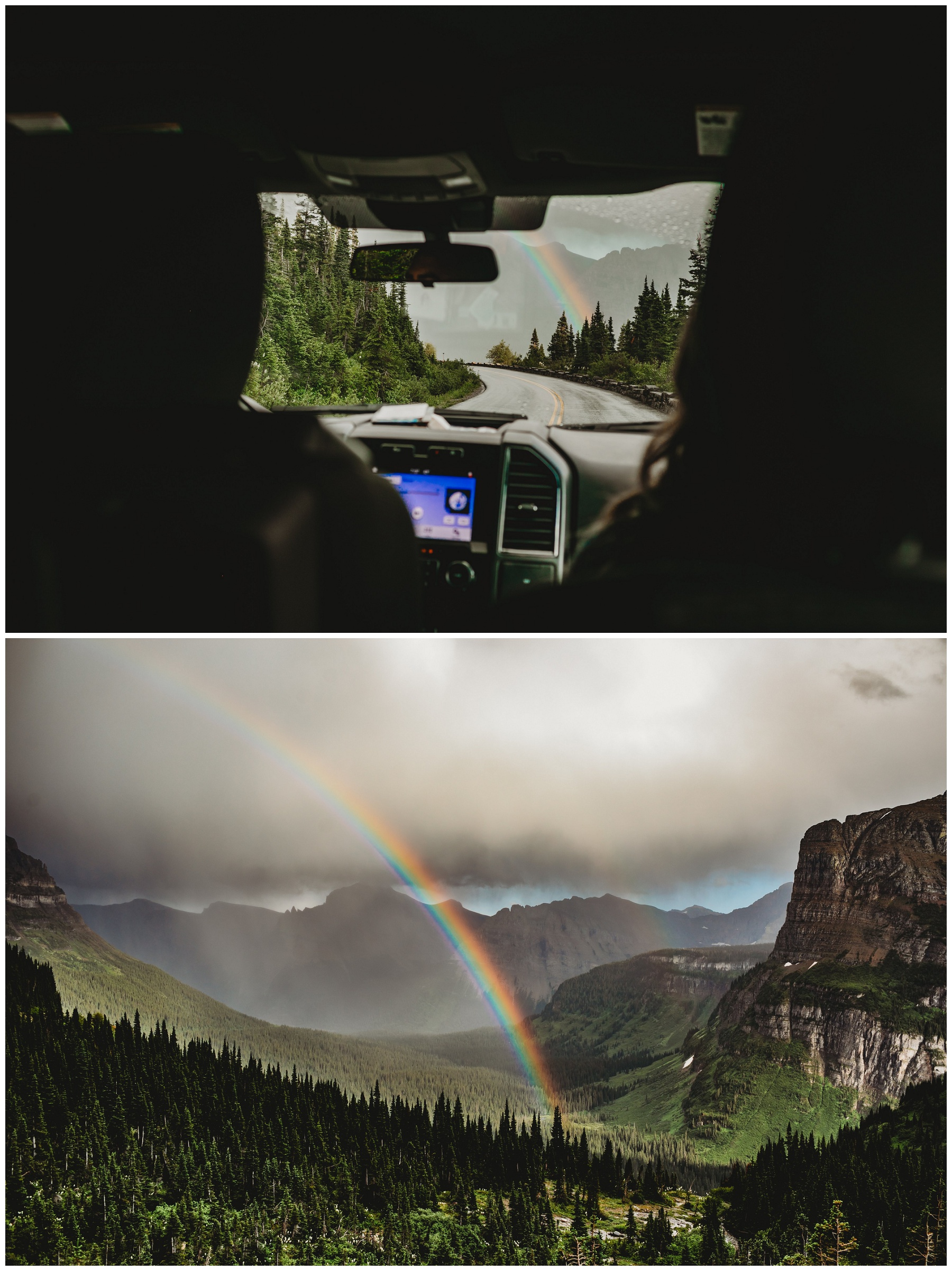 a rainbow through the car window