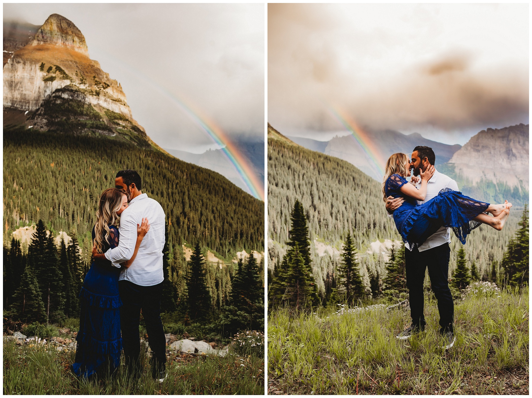 couple portraits by a rainbow in the mountains