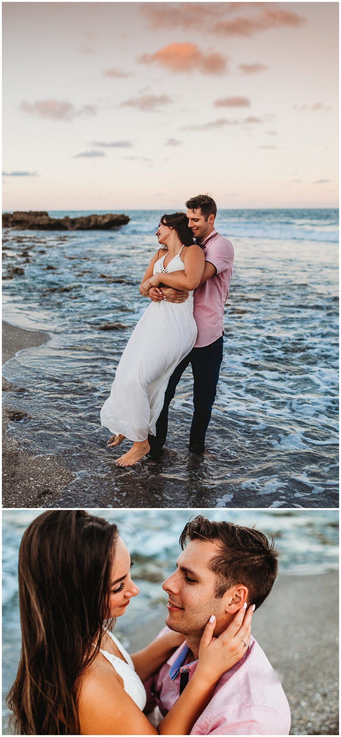 couple by the shore of the ocean