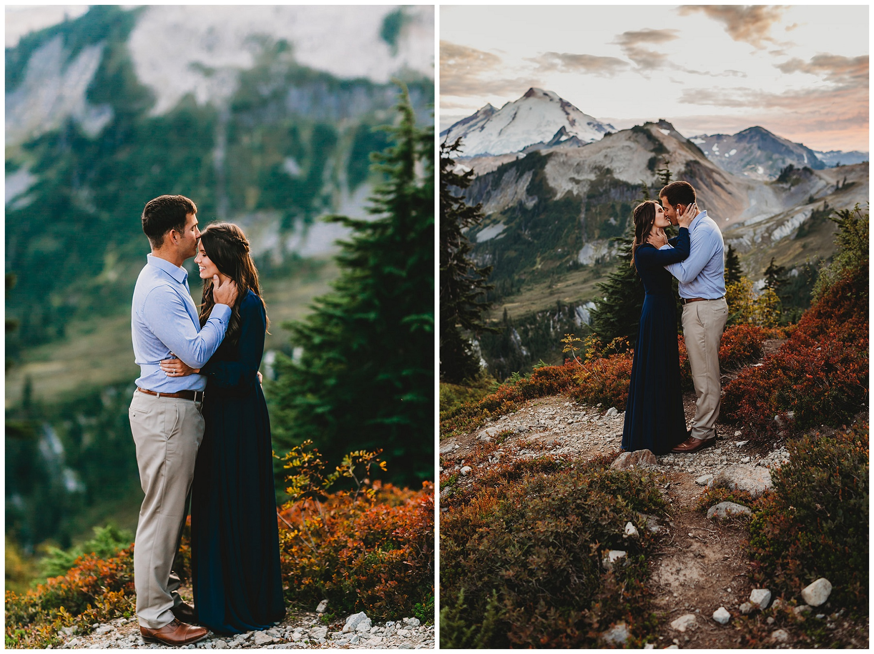 couple sharing a kiss in the mountains
