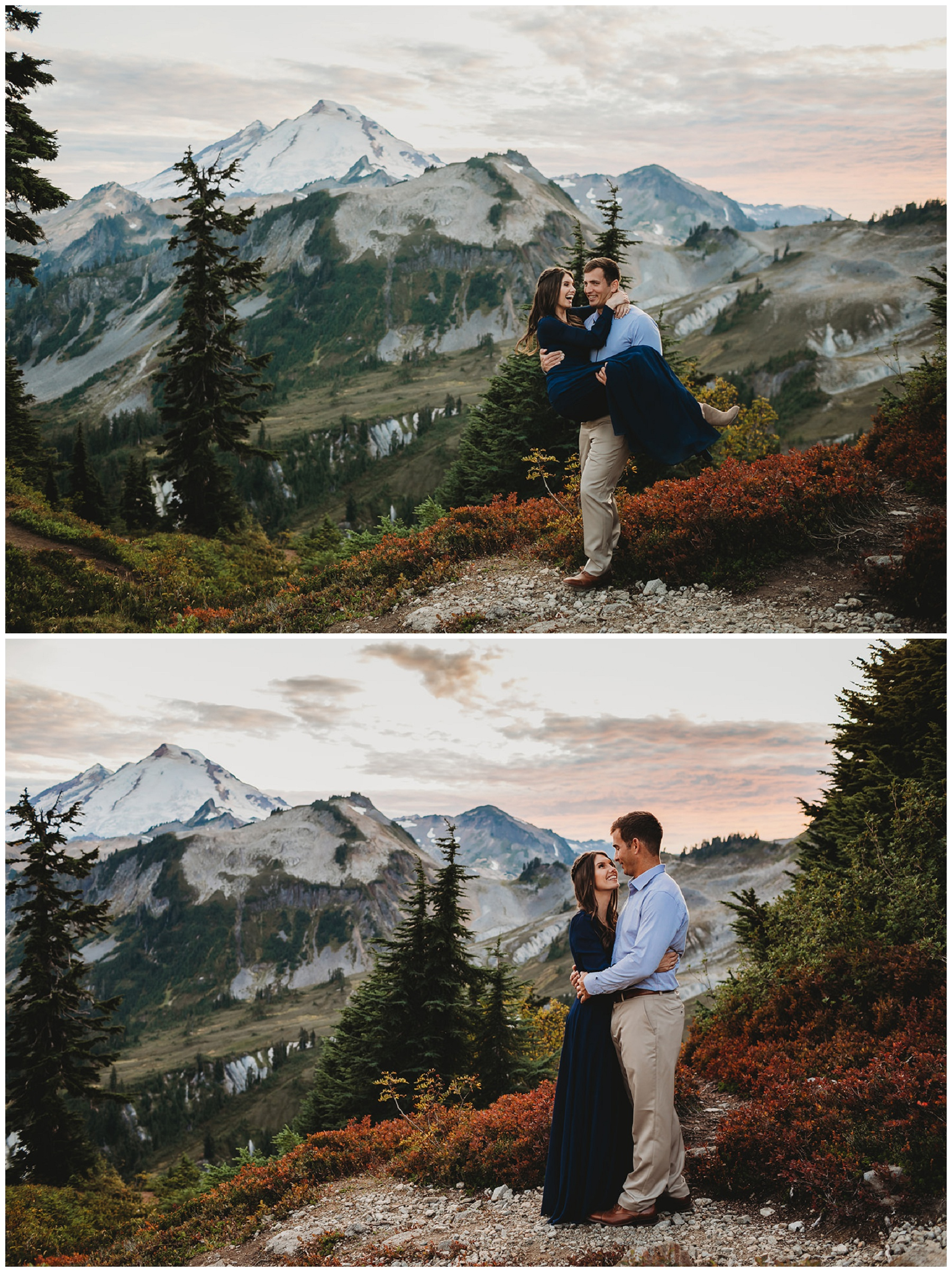 couple portraits for engagement pictures in the mountains