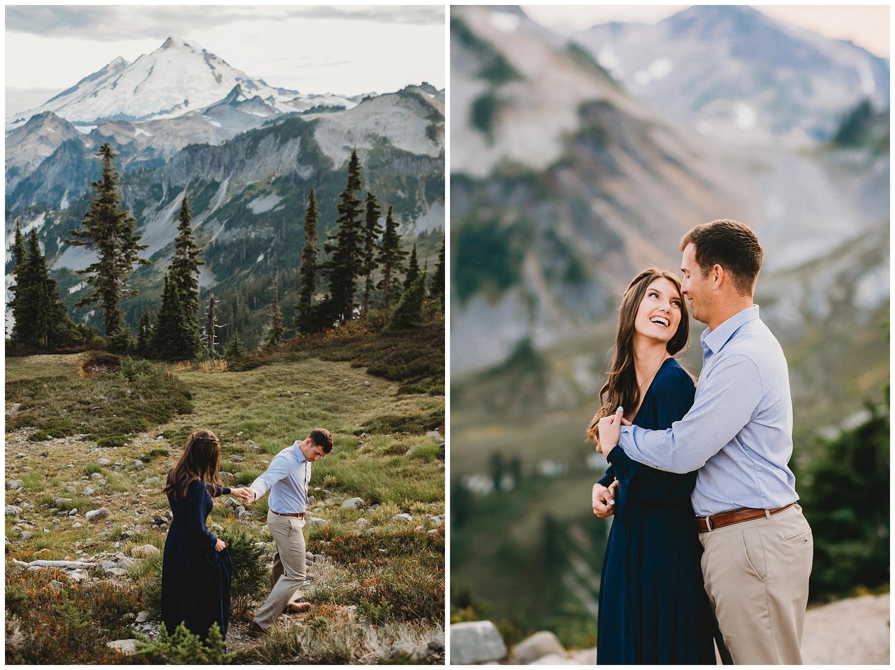 couple walking through the mountains