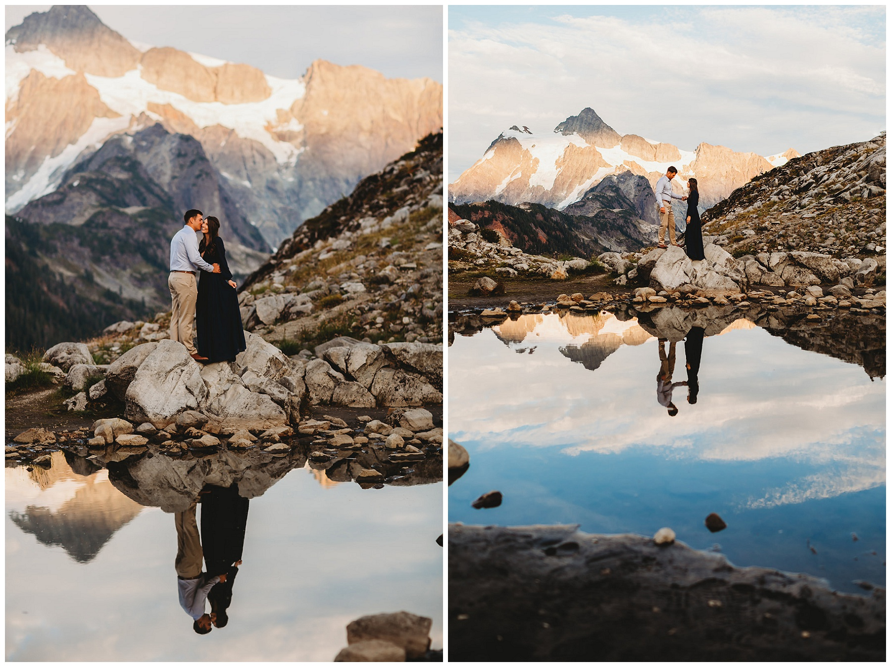 couple portraits for engagement pictures by water in the mountains