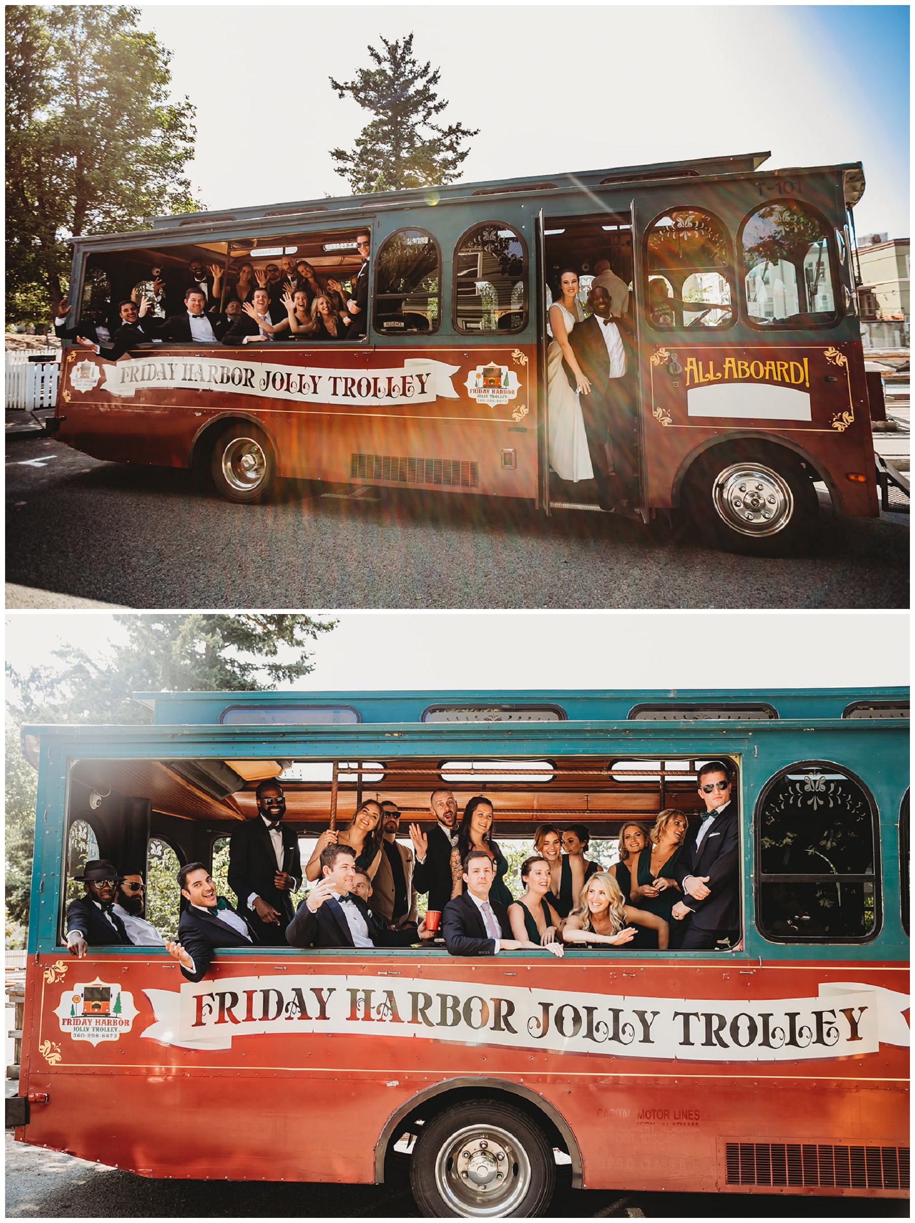 friday harbor trolley with wedding party