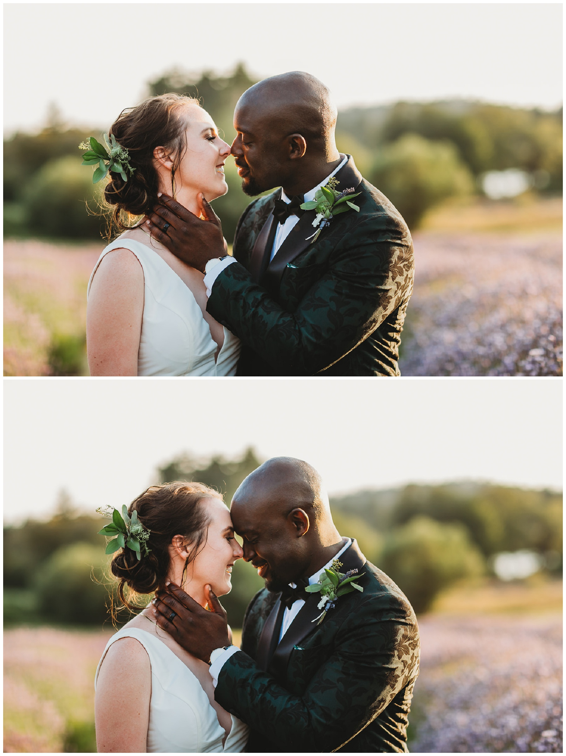 bride and groom portraits in lavender field
