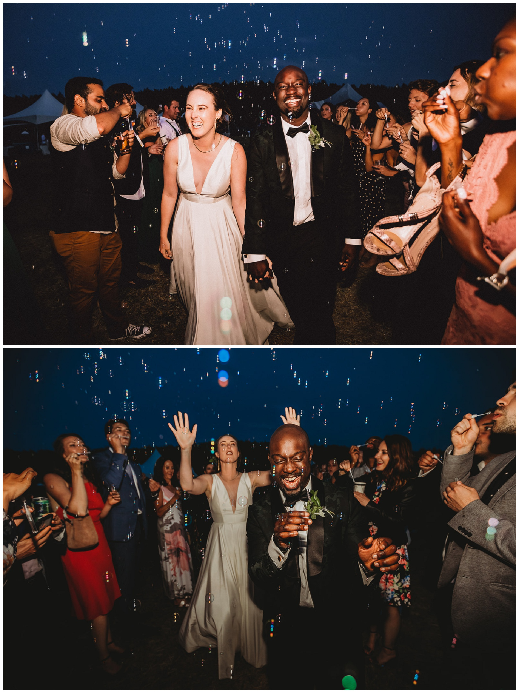bride and groom bubble exit