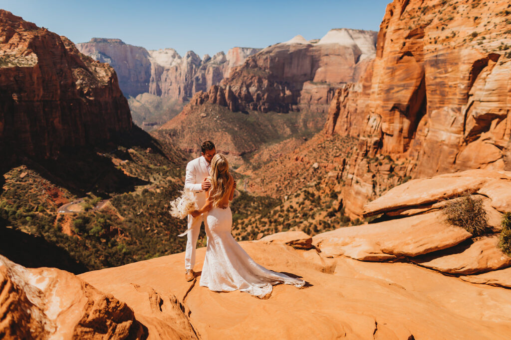 Bride and groom in Zion