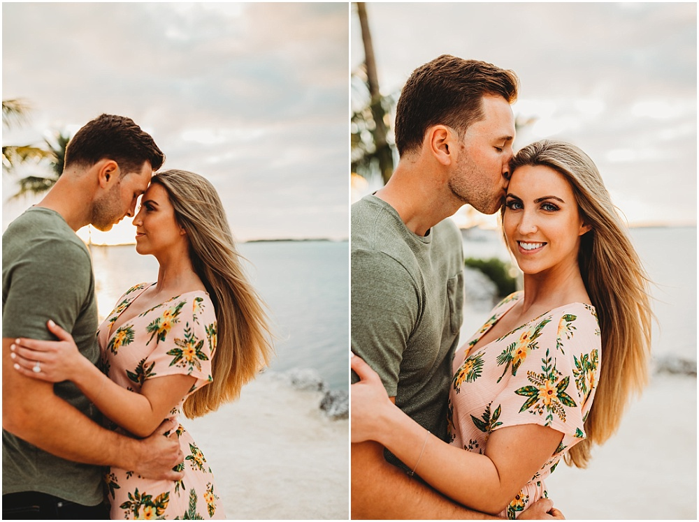Engagement portraits of couple on beach
