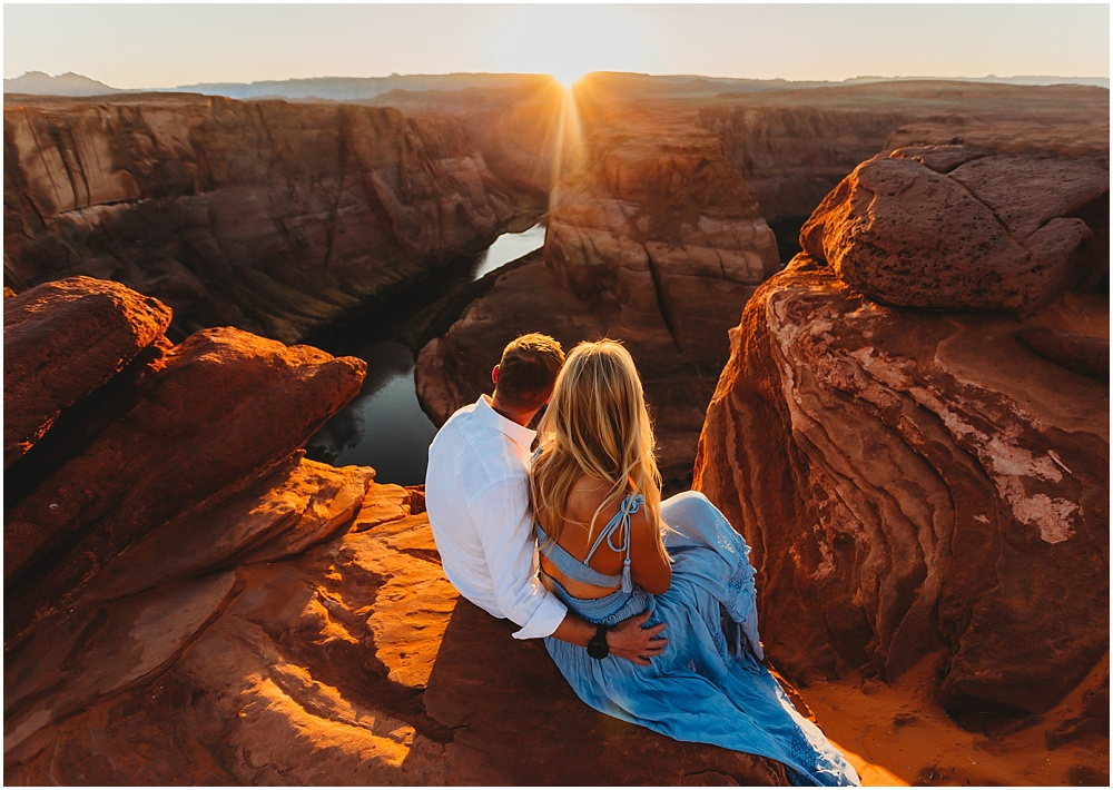 couple looks out at the sunset