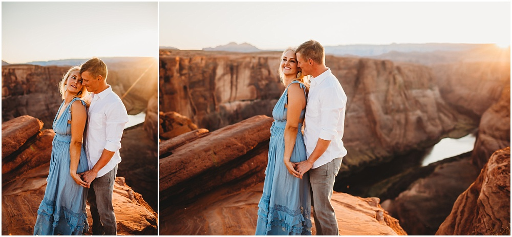 Engagement portraits of couple at sunset