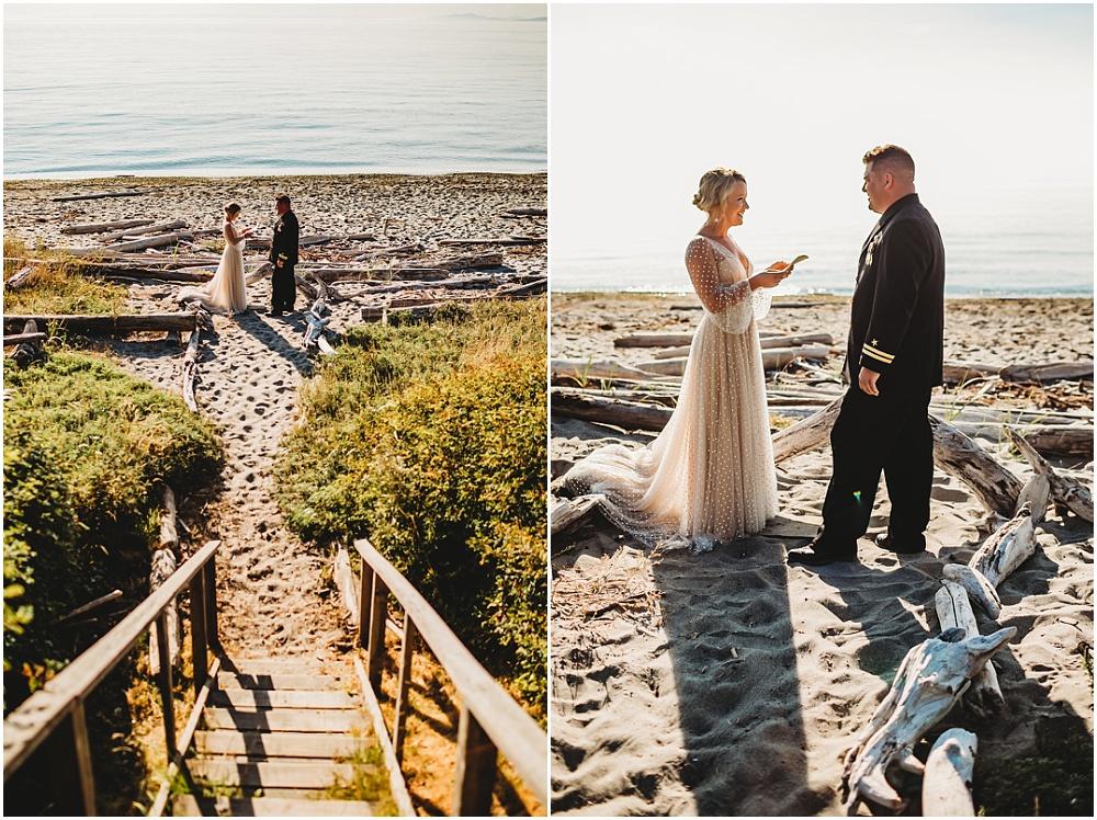Bride and groom read vows