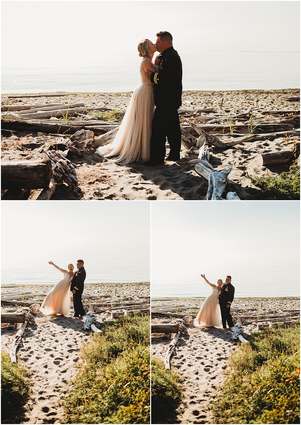 Bride and groom share first kiss on beach