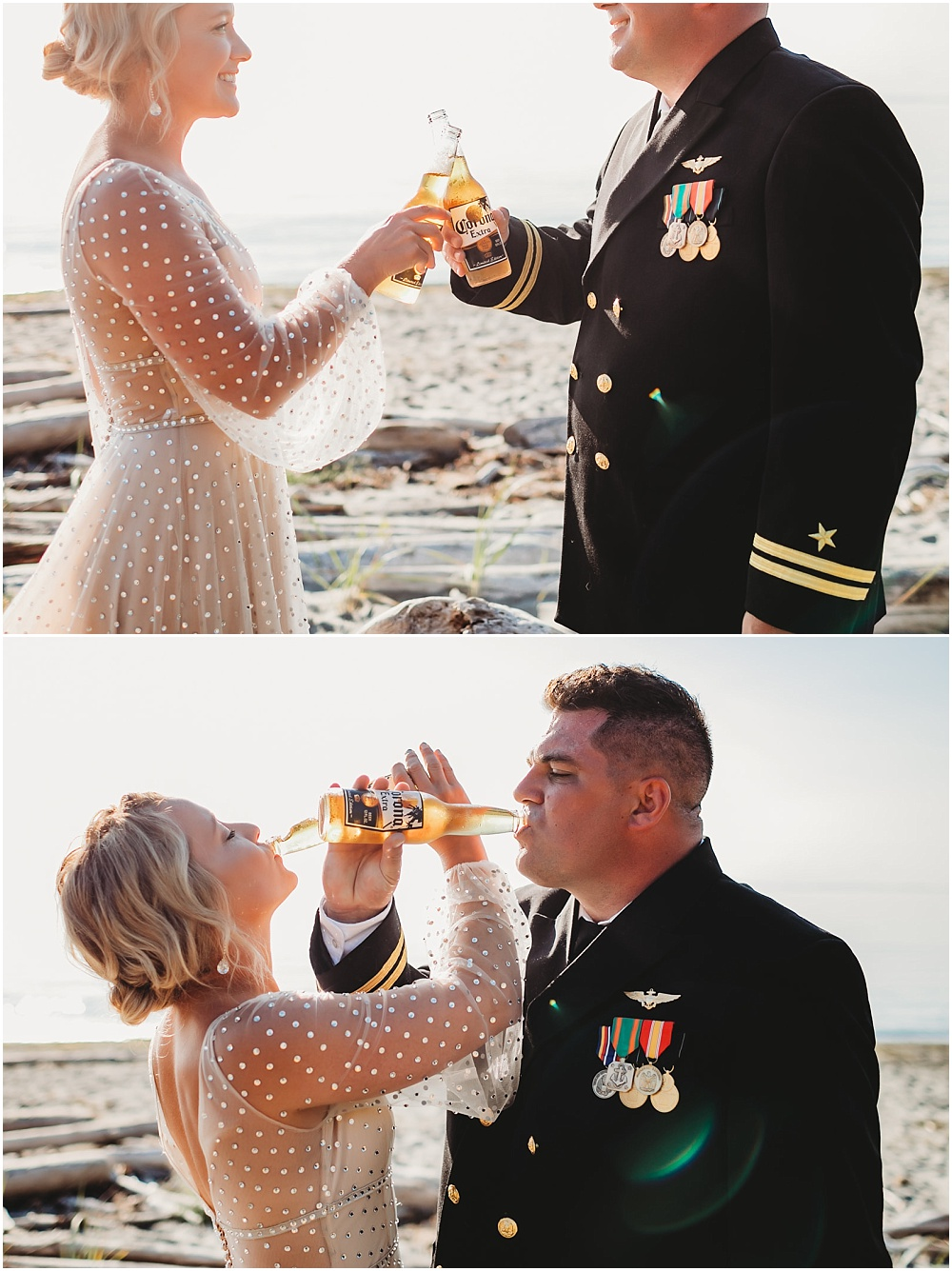 Bride and groom cheers drink