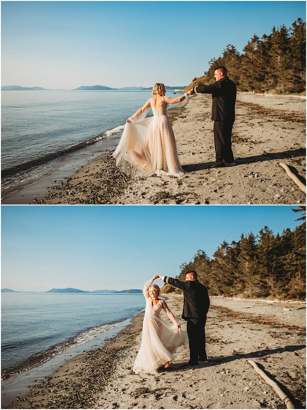 Bride and groom dance on the beach