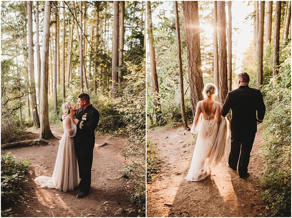 Bride and groom portraits in the woods