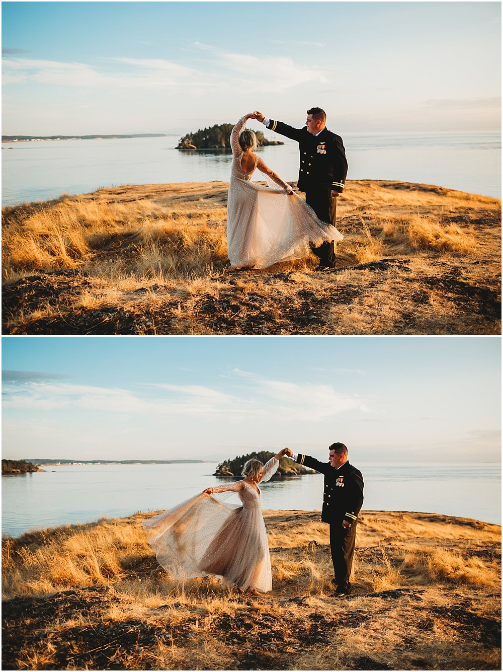bride and groom dancing at sunset