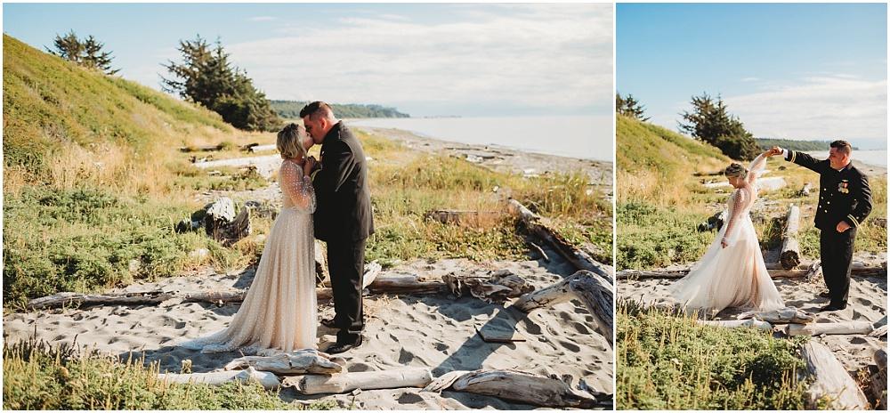 Bride and groom share a kiss on the beach