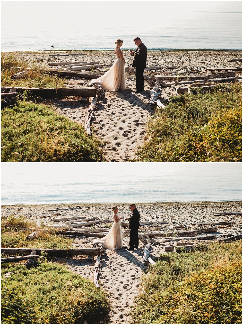 Bride and groom share vows on beach