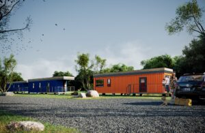 Blue Cabins and Orange Cottages at Camp Bespoke in Williamstown, Kentucky.