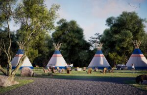 Custom painted and hand crafted Tipis at Camp Bespoke