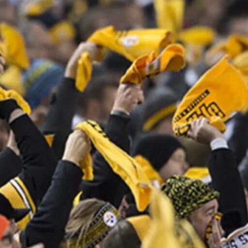 Steelers fans waving terrible towels
