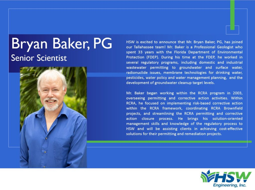 HSW Welcomes Bryan Baker as a Senior Scientist in our Tallahassee Office