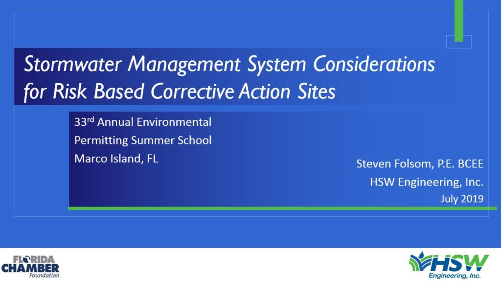 Stormwater Management System Considerations for Risk Based Corrective Action Sites