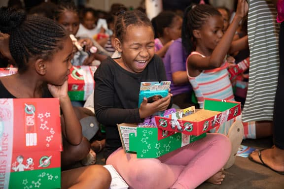 Grace Coastal Church takes part in Operation Christmas Child.