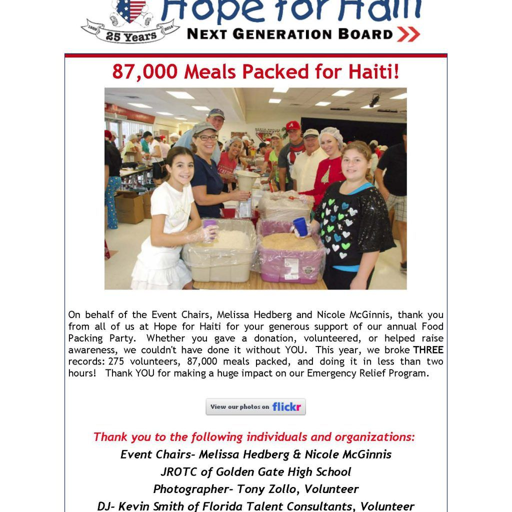 Emergency relief food packing event 2014 page 1