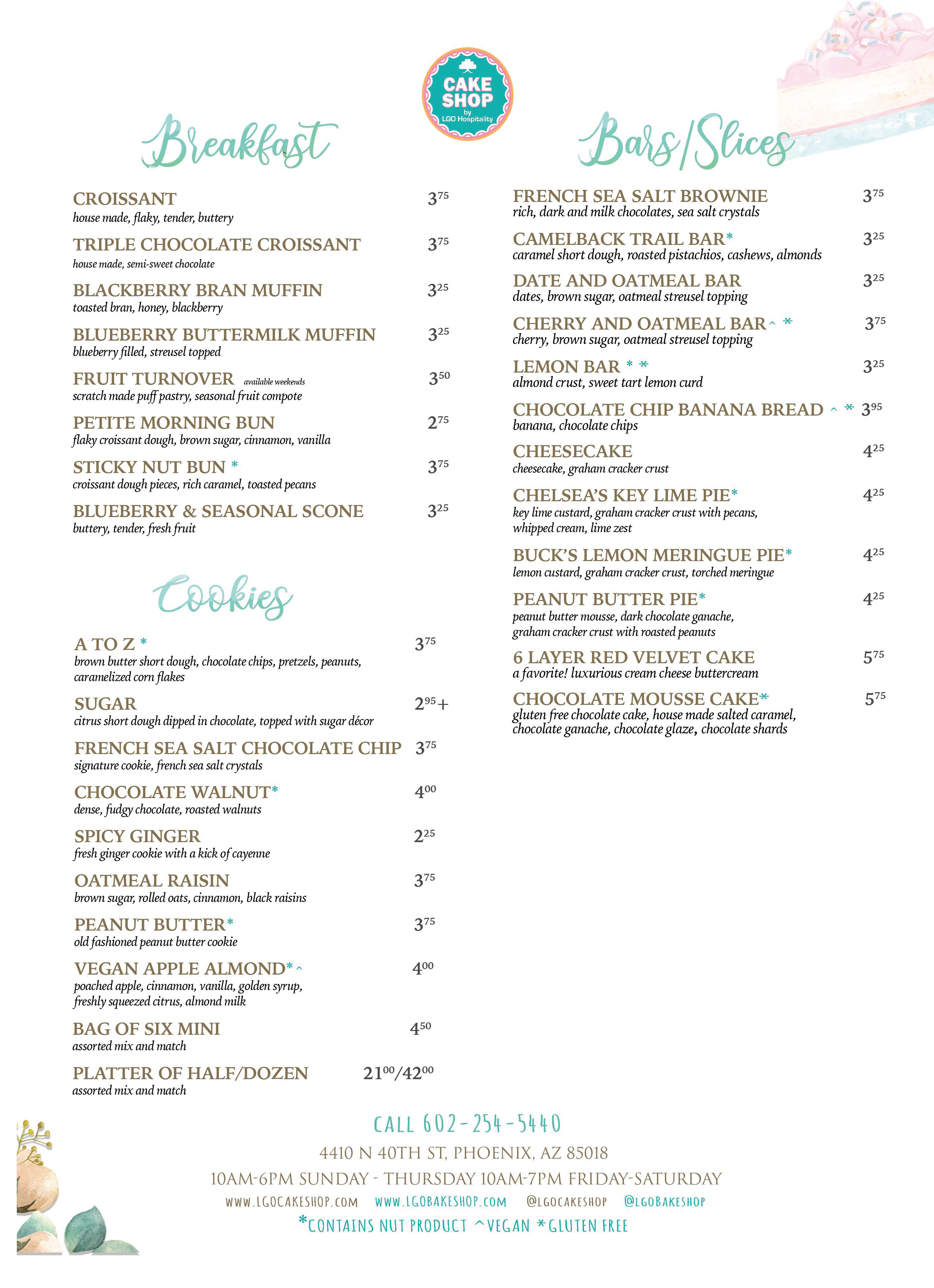 Cake Shop menu back