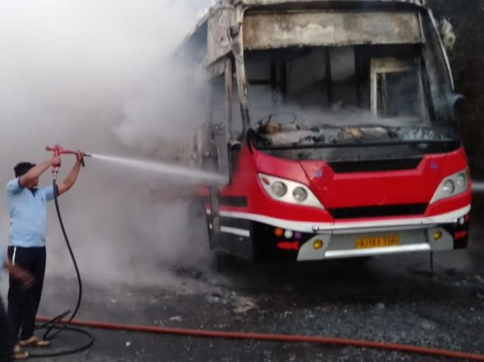 Luxury bus caught fire