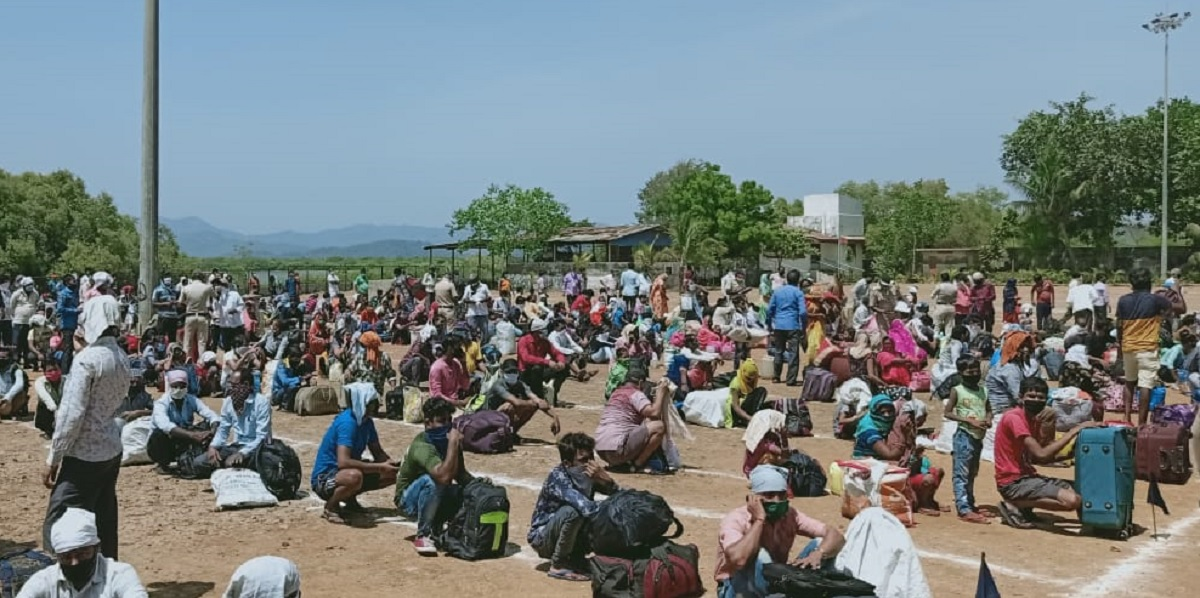 Migrant workers gathered at Jesal Park
