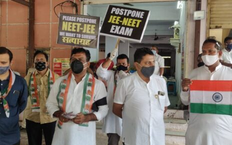Congress protest demanding postponement of JEE, NEET