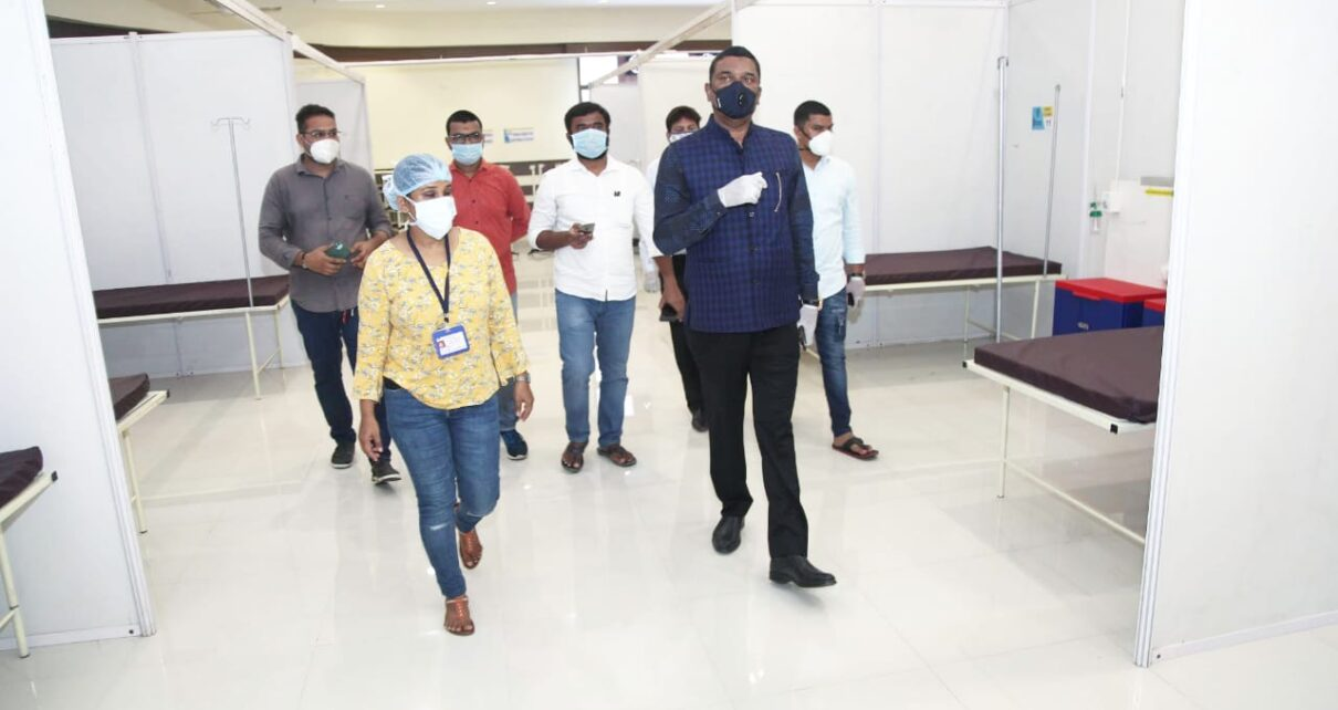 Sarnaik inspecting Dedicated COVID Health Centres
