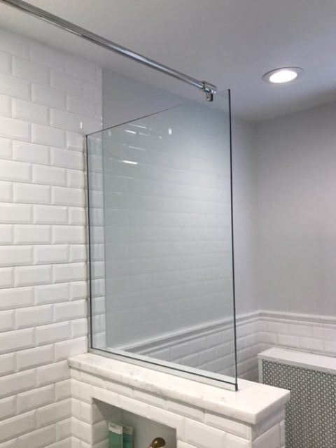 White Brick Wall Shower - Bathroom Remodeling - Willoughby Ohio - Gerome's Kitchen And Bath